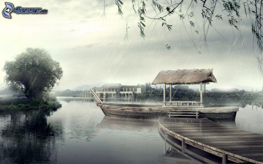 drewniane molo, jezioro, deszcz