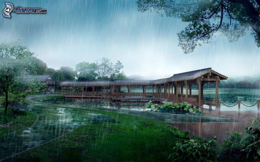 drewniany most, deszcz, jezioro