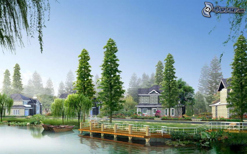 drewniany most, jezioro, drzewa, domy