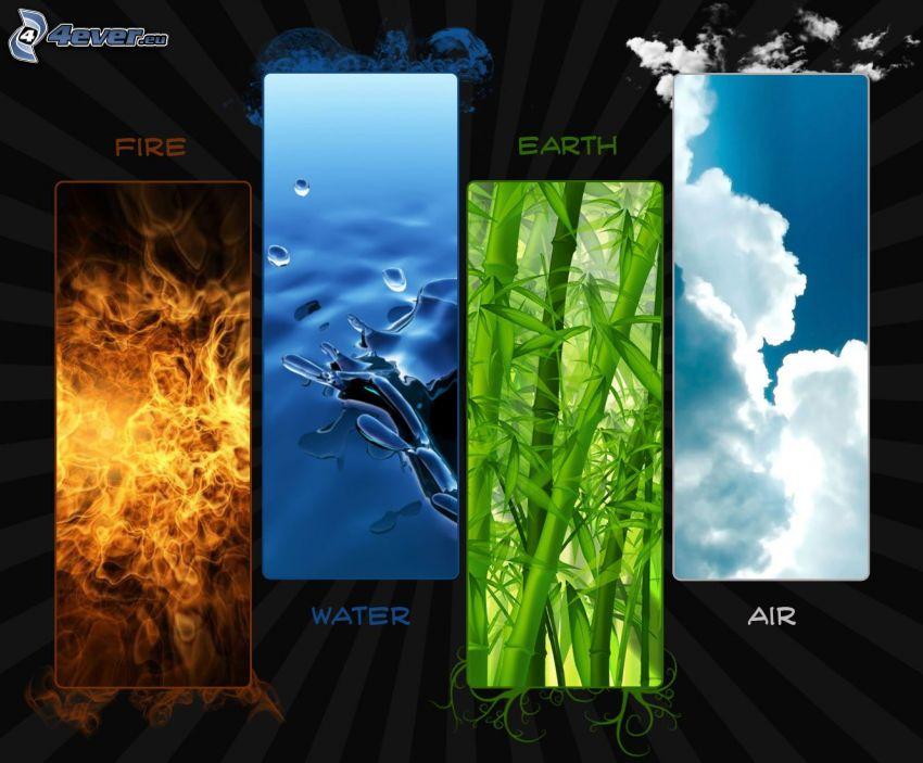 elementy, ogień, woda, ziemia, powietrze