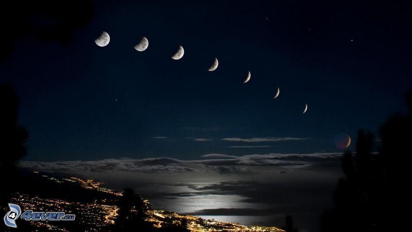 fazy księżyca, noc