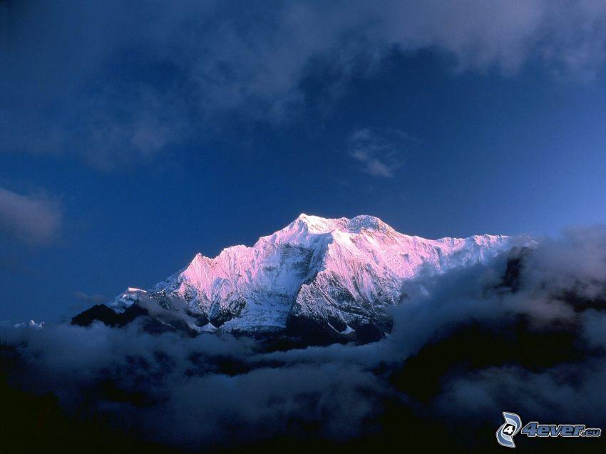 Annapurna II, wzgórze, góra, chmury