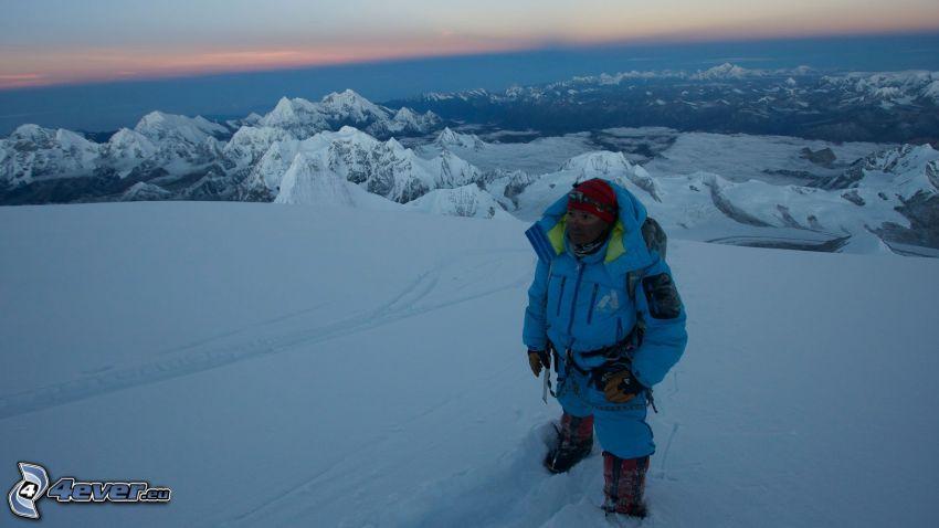 Cho Oyu, zaśnieżone góry, turysta, widok