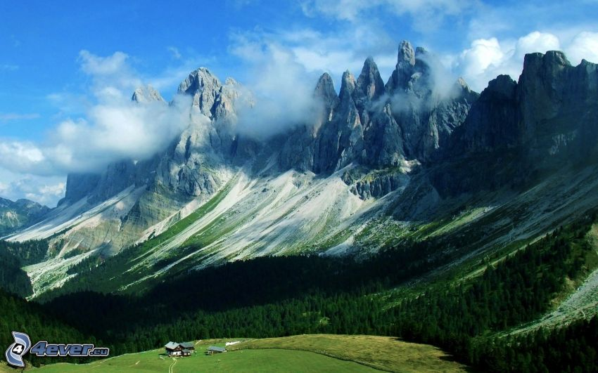 Dolomity, góry skaliste, las iglasty