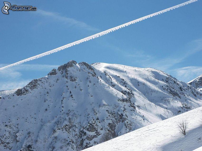 góra, śnieg, smugi