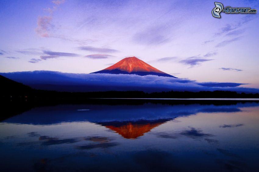 Góra Fuji, wulkan, jezioro, odbicie, chmury, wieczór