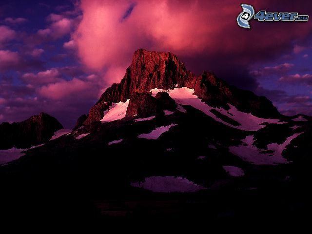 góra skalista, góry, mgła