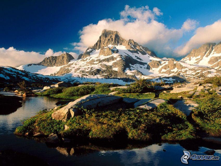 góry, krajobraz, potoczek, chmury, niebo, wzgórze