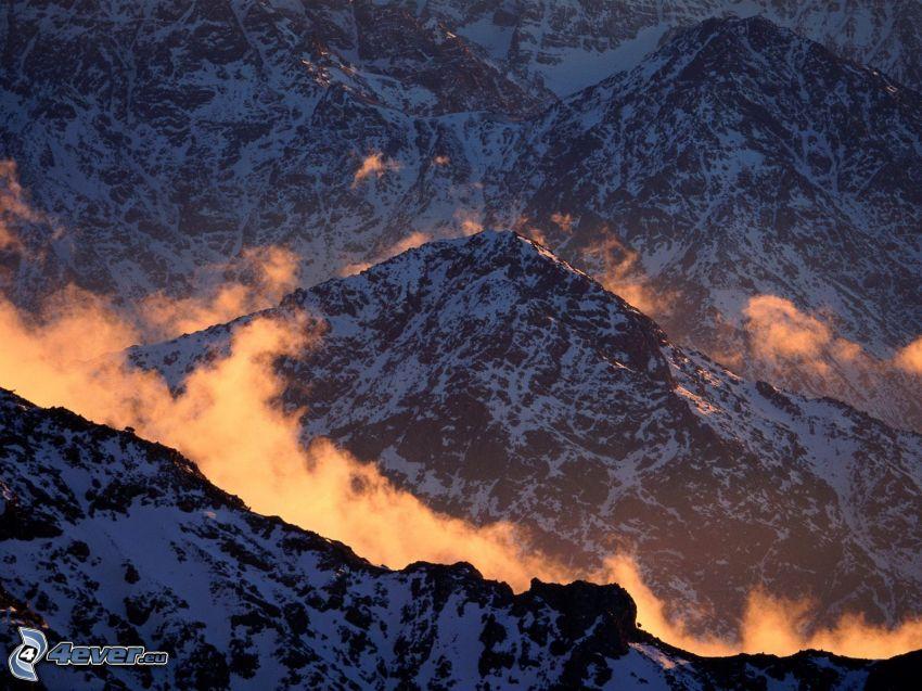 góry, śnieg, chmury