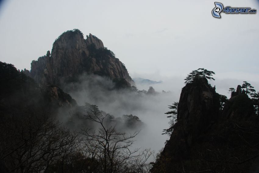 Huangshan, góry skaliste, inwersja