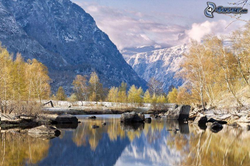 jezioro, zaśnieżone góry