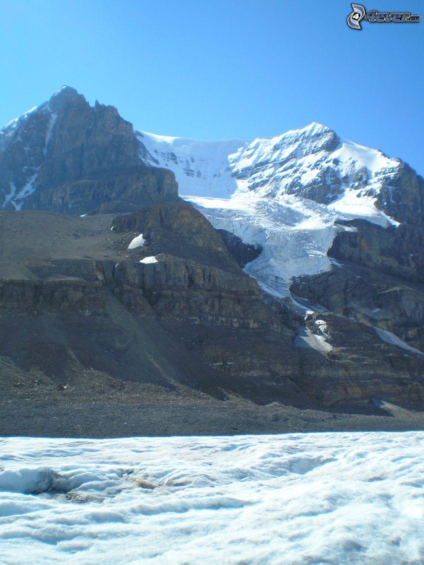 Mount Athabasca, wzgóże ze skały, śnieg