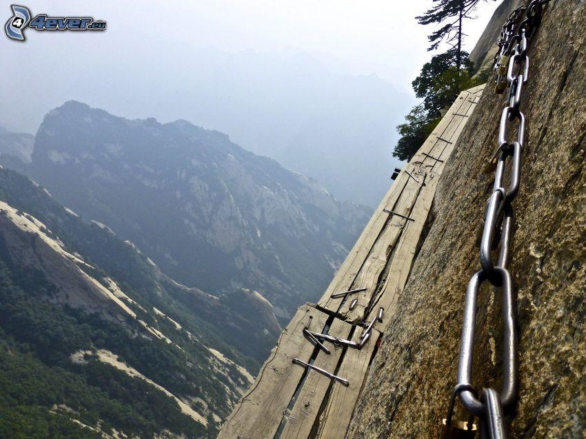 Mount Huang, chodnik, niebezpieczeństwo, łańcuch