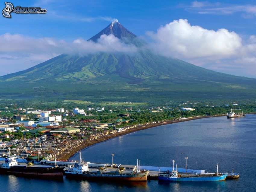 Mount Mayon, Filipiny, wulkan, statki, morze, chmura