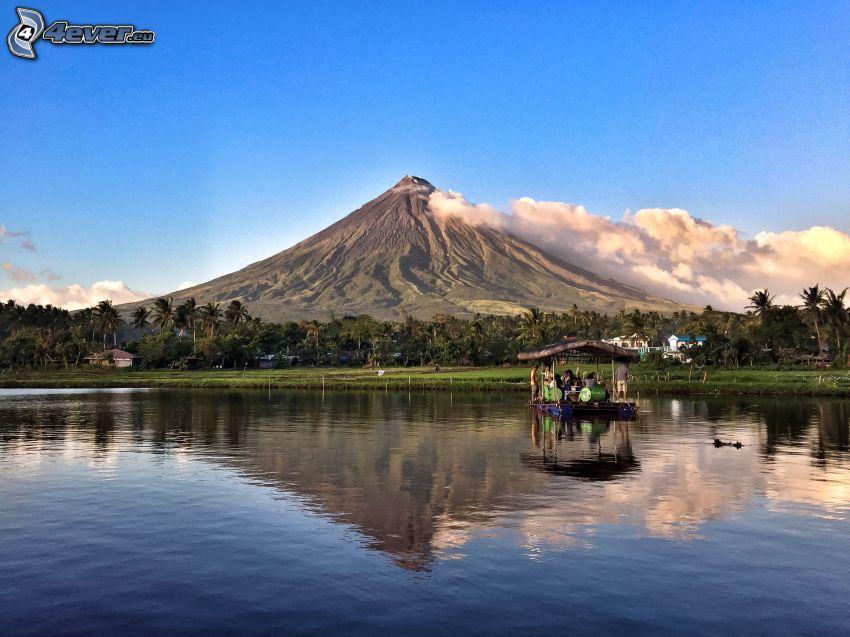 Mount Mayon, tratwa, morze, las, Filipiny