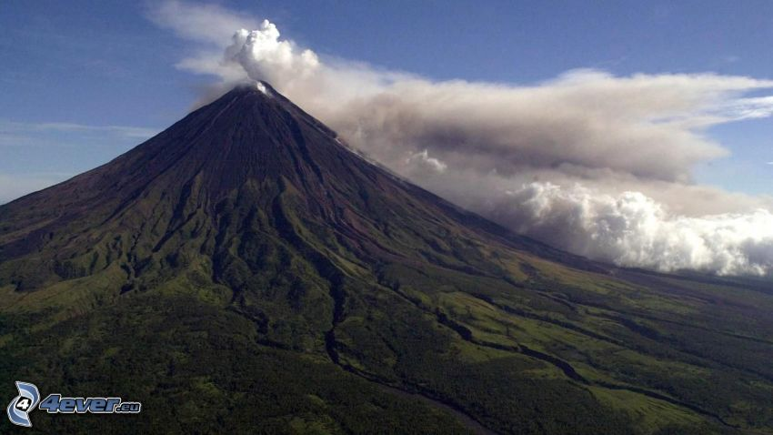 Mount Mayon, wulkan, chmura wulkaniczna, Filipiny