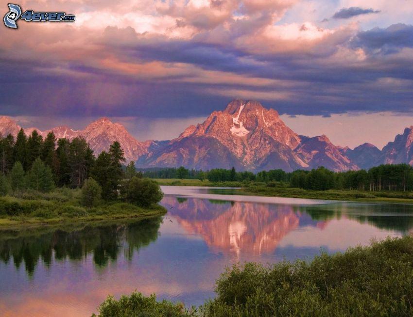 Mount Moran, Wyoming, jezioro, odbicie, las, góry skaliste, chmury