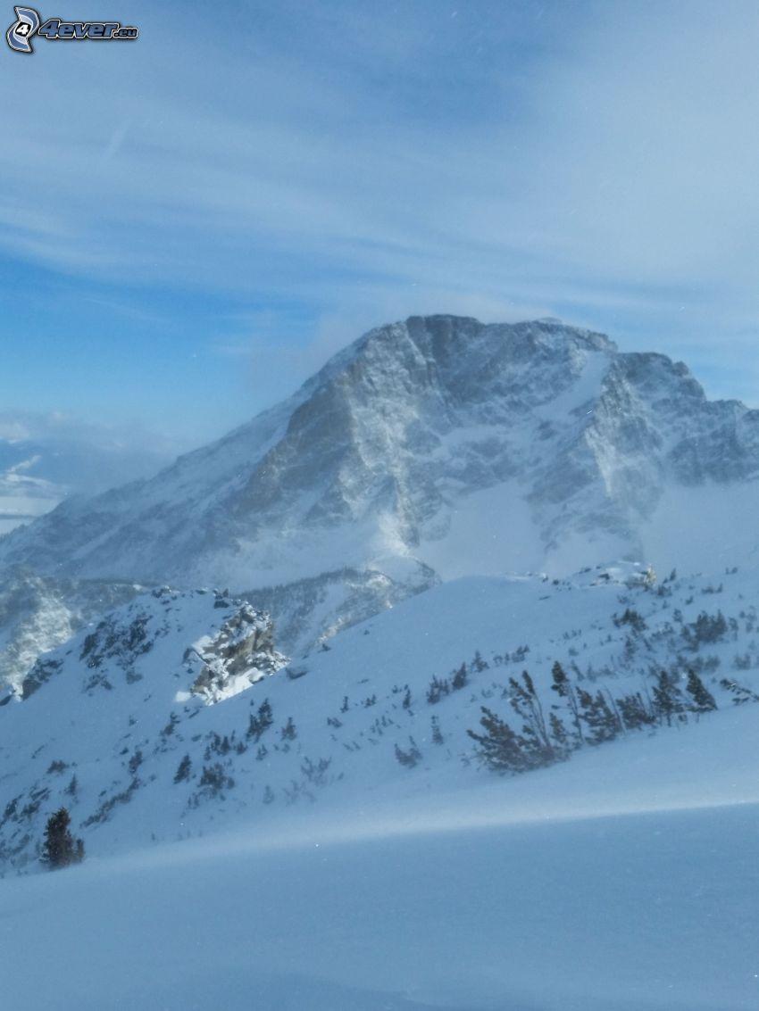 Mount Moran, Wyoming, zaśnieżona góra