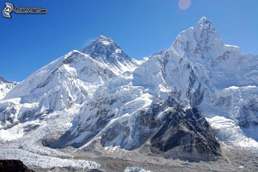 Mount Nuptse, zaśnieżone góry, Nepal