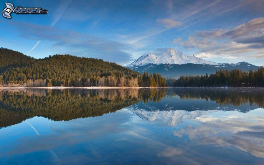 Mount Shasta, zaśnieżona góra, górskie jezioro, odbicie, las