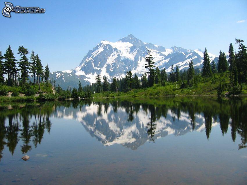 Mount Shuksan, góra skalista, jezioro, las