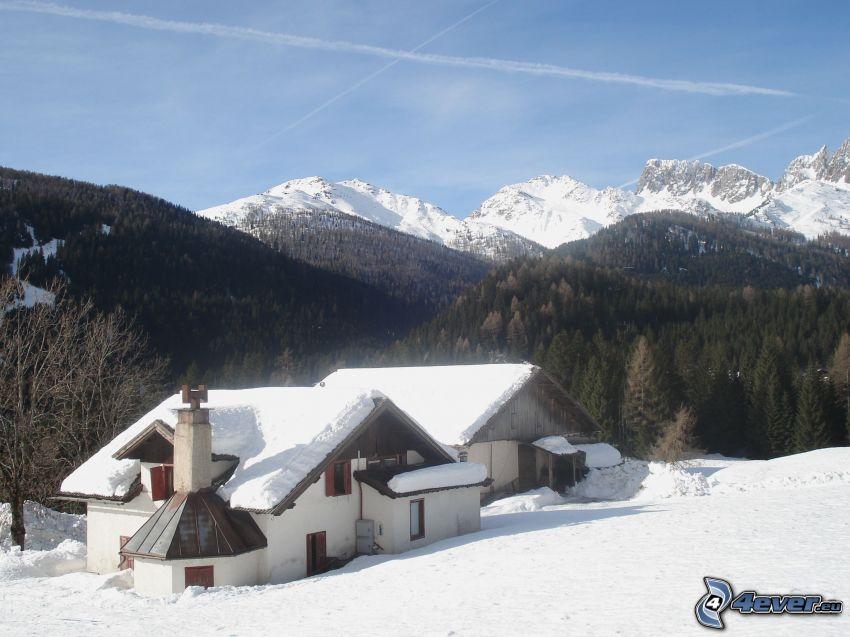 San Martino Di Casrrozza, chata, śnieg