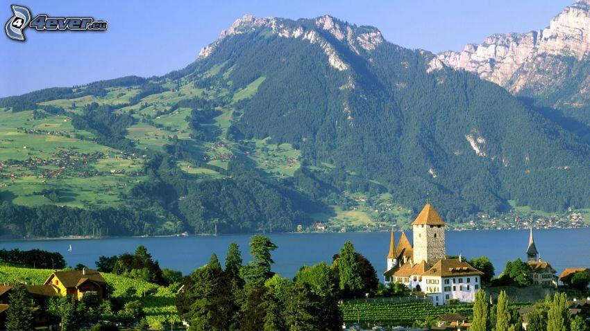Szwajcaria, góry skaliste, rzeka, domy