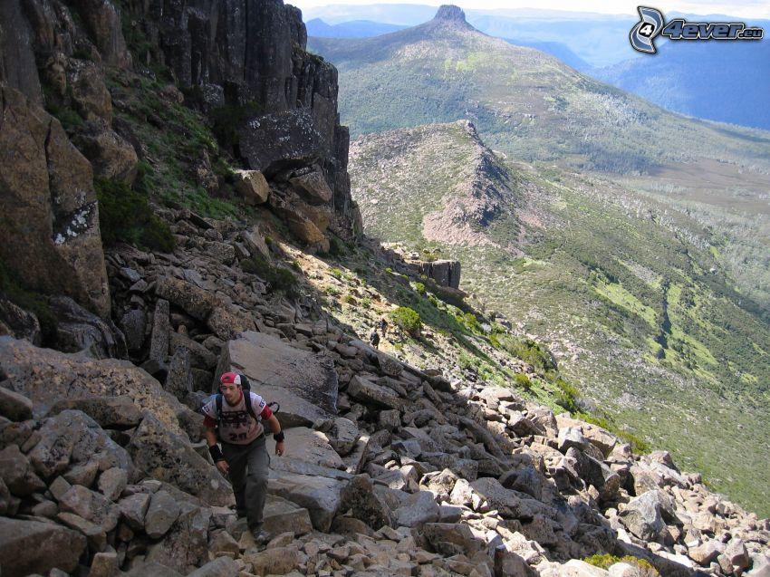 Tasmania, góry, skały, turysta