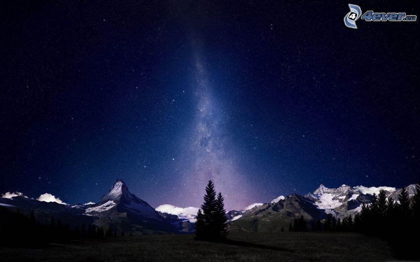 zaśnieżone góry, drzewa iglaste, noc, gwiaździste niebo
