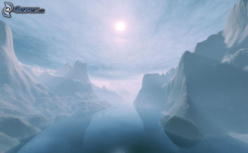 zaśnieżone góry, słabe słońce