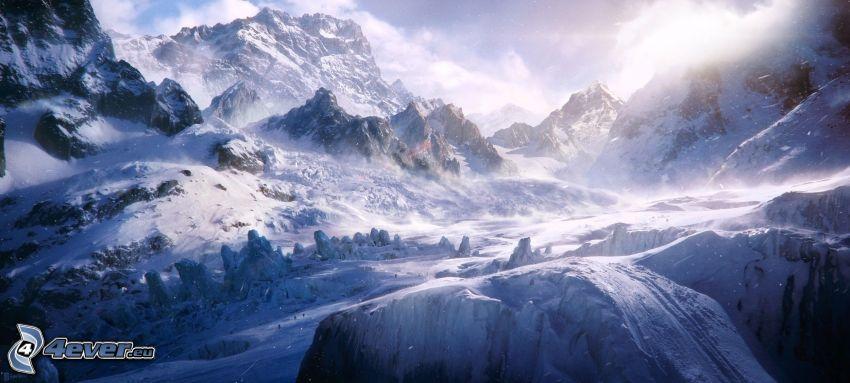 zaśnieżone góry, śnieg