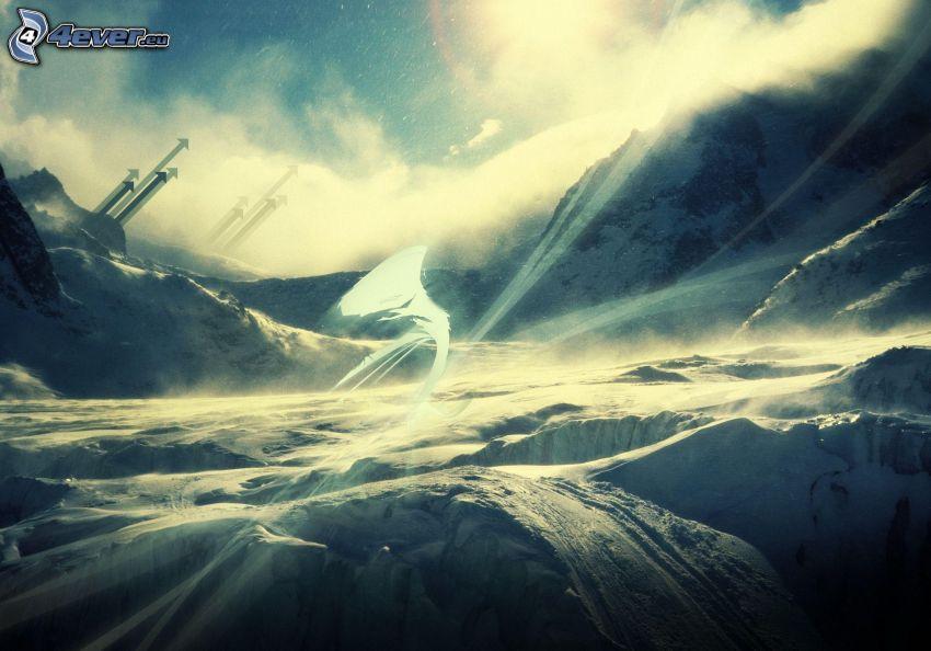 zaśnieżone góry, strzałki
