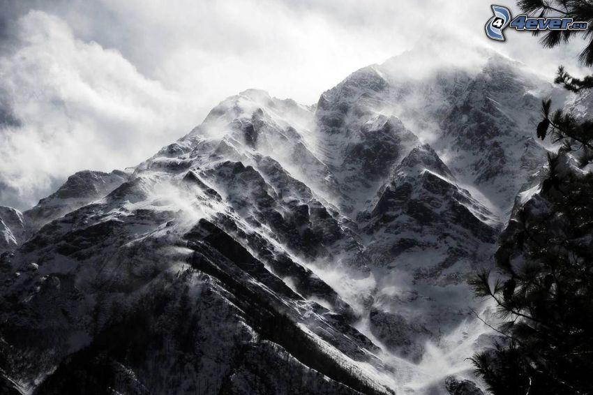zaśnieżone góry, szczyt, wzgórze, skała