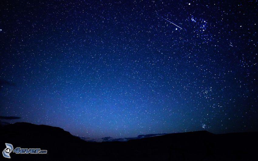 gwiaździste niebo, horyzont, meteoryt
