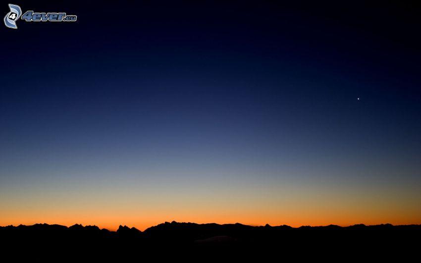 horyzont, niebo o zmroku