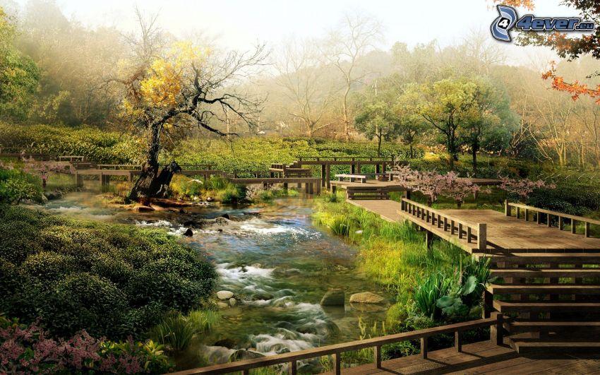 jeziorko, drewniany most, zieleń