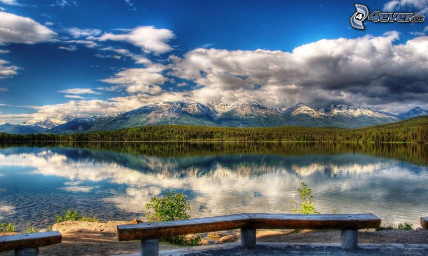 jezioro, ławeczka, wzgórza, chmury, HDR