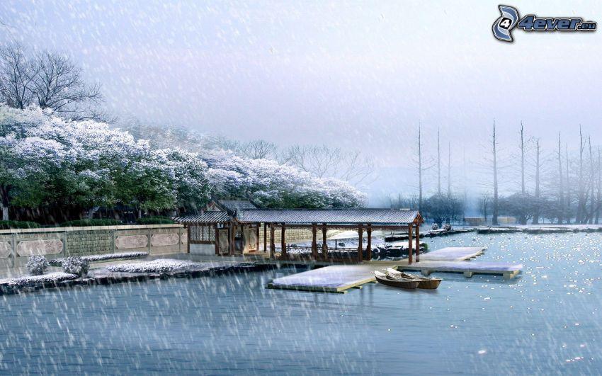 jezioro, łódki, opady śniegu