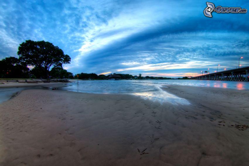 jezioro, piasek, wieczór