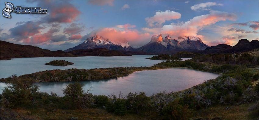 jezioro, zaśnieżone góry, po zachodzie słońca, chmury