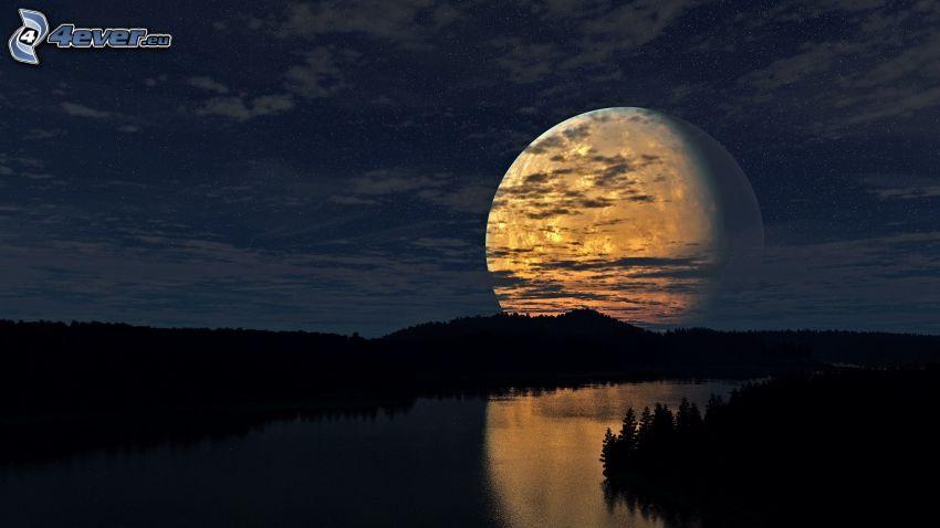 krajobraz sci-fi, księżyc, sylwetka lasu, rzeka, noc