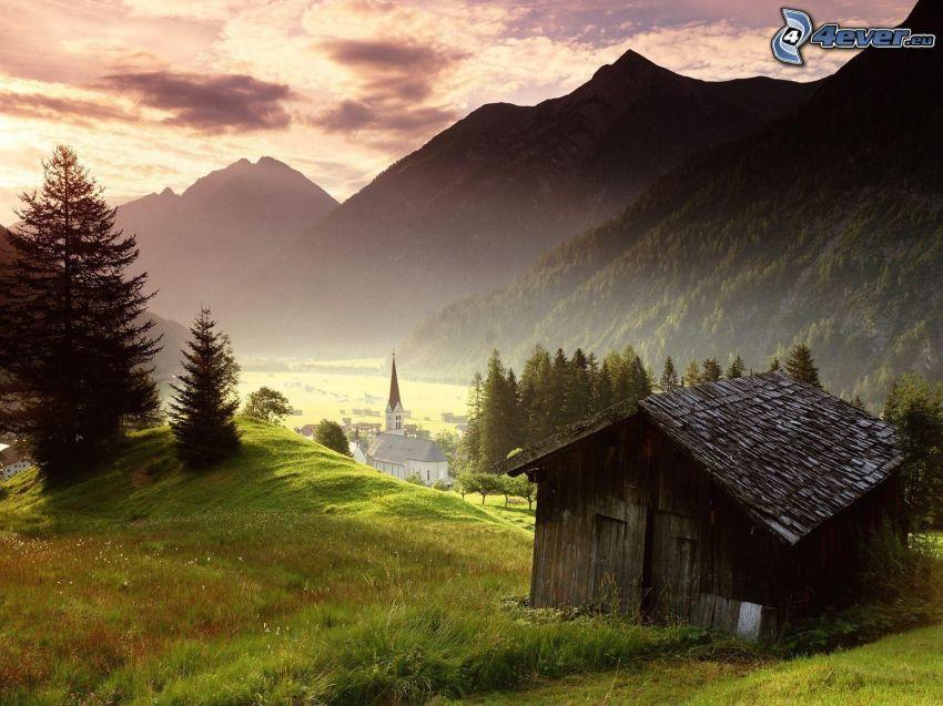 chata, domek, przyroda, jesień, kościół, wioska, krajobraz