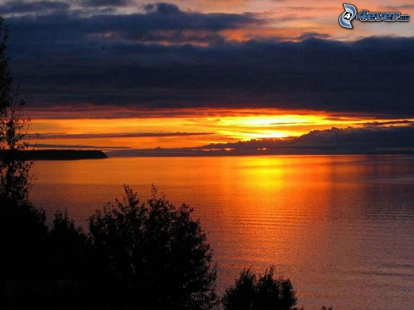 ciemny zachód słońca, jezioro, chmury, sylwetki drzew