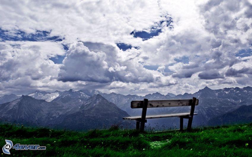 góry, ławeczka, niebo, chmury