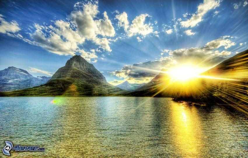 góry, słońce, niebo, jezioro, HDR