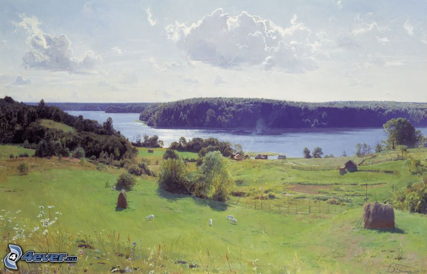 krajobraz, rzeka, łąki, las