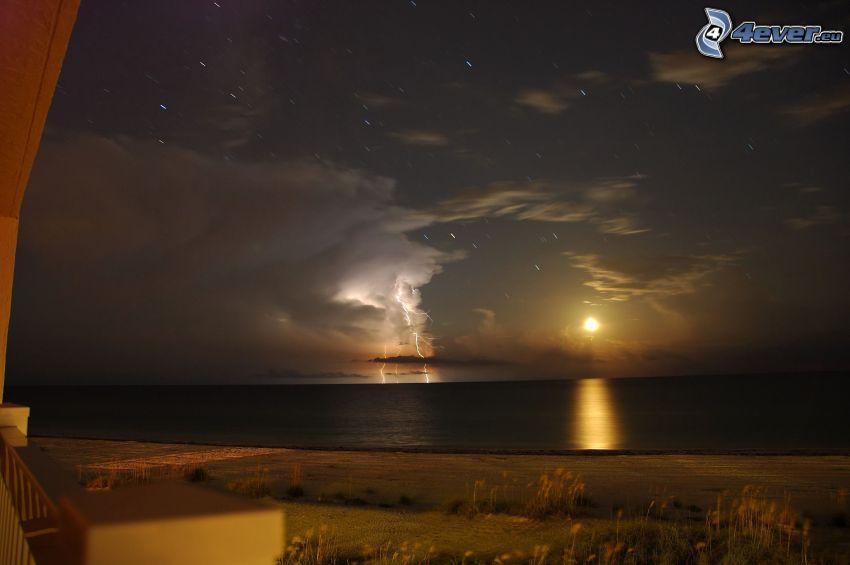 księżyc, gwiazdy, burza, plaża, morze