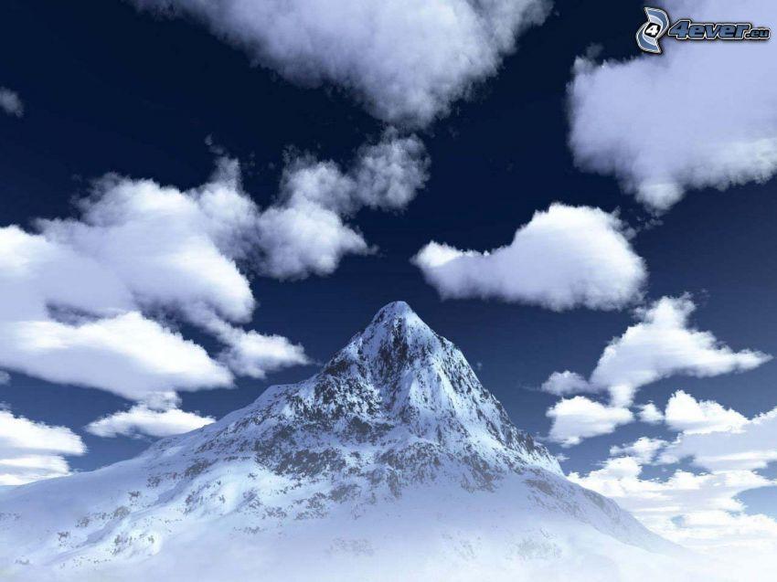 Mount Everest, chmury, szczyt, zima, śnieg