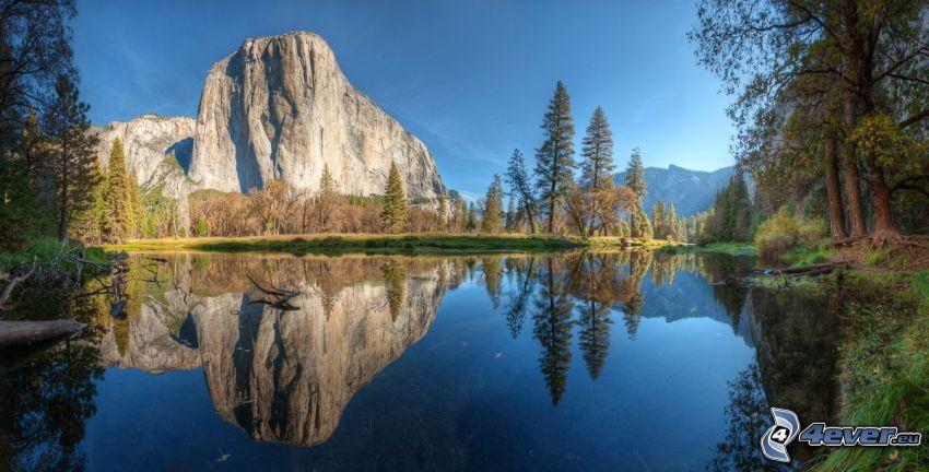 Park Narodowy Yosemite, jezioro, skała, drzewa, odbicie