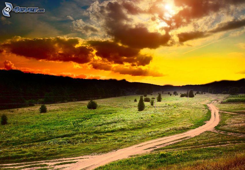 polna droga, żółte niebo, chmury